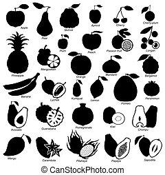 imagen, Conjunto, frutas