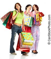 Shopping women - Shopping happy women. Isolated over white...