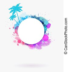 Round watercolor frame background