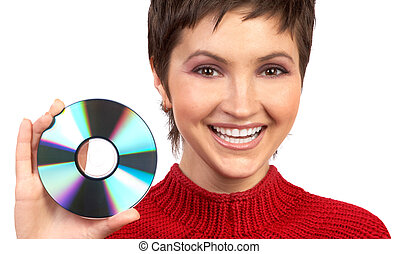 CD-ROM - Young beautiful woman holding a cd Isolated over...