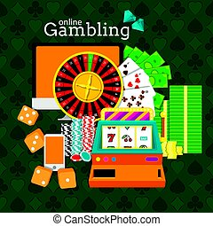 Online gambling vector illustration. Slot machine, roulette, desktop, phone, stacks of money, poker chips and dice cubes