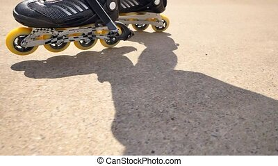 Very close up side view to working inline skates. Easy...