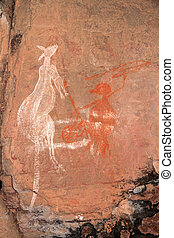 Aboriginal rock art (Kangaroo) at Nourlangie, Kakadu...