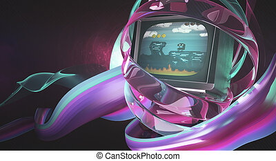Creative pink TV digital art - Creative digital art. Retro...