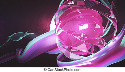Pink digital art - Creative digital art. Bright pink object...