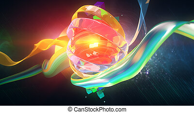 Orange digital art - Creative digital art. Bright orange...