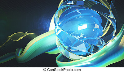 Bluish green digital art - Creative digital art. Bright...