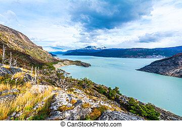 Pehoe Lake,Patagonia, Chile,Southern Patagonian Ice Field,...