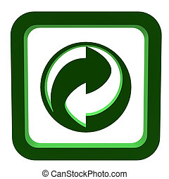 3D Recycle Symbol - 3D green recycle symbol on a white...