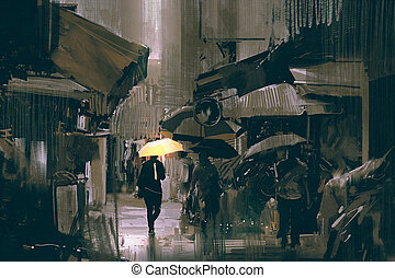 the man with glowing yellow umbrella walking in city