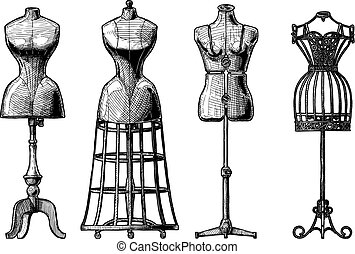 Set of dress form - Vector black-and-white hand drawn...