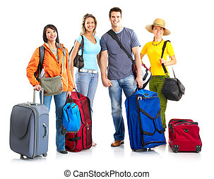 Tourists - Happy smiling tourists Over white background