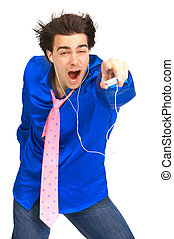 man with mp3-player - Happy young man with mp3-player. Over...
