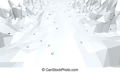 Abstract black and white low poly waving 3D surface as futuristic background. Grey abstract geometric vibrating environment or pulsating background. Free space
