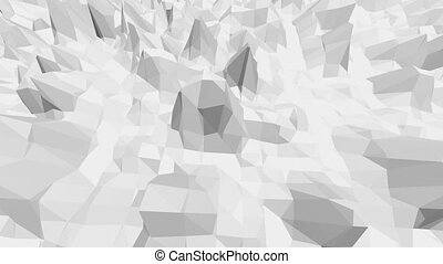 Abstract black and white low poly waving 3D surface as...