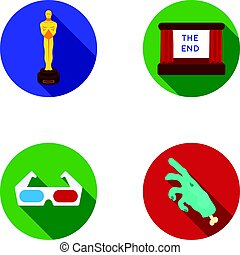 Award Oscar, movie screen, 3D glasses. Films and film set collection icons in flat style vector symbol stock illustration web.