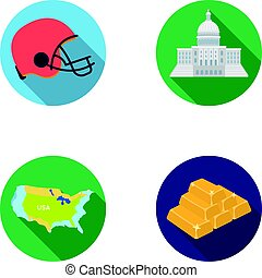 Football player s helmet, capitol, territory map, gold and foreign exchange. USA Acountry set collection icons in flat style vector symbol stock illustration web.