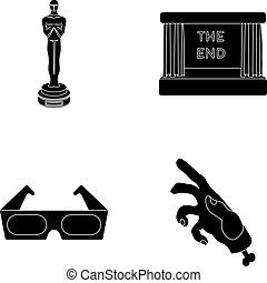 Award Oscar, movie screen, 3D glasses. Films and film set collection icons in black style vector symbol stock illustration web.