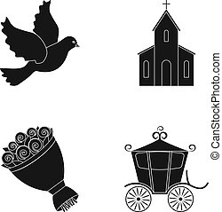 Pigeon, church, wedding bouquet, carriage. Wedding set collection icons in black style vector symbol stock illustration web.