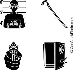 Photo of criminal, scrap, open safe, directional gun.Crime...