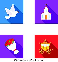 Pigeon, church, wedding bouquet, carriage. Wedding set collection icons in flat style vector symbol stock illustration web.
