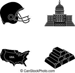 Football player's helmet, capitol, territory map, gold and foreign exchange. USA Acountry set collection icons in black style vector symbol stock illustration web.