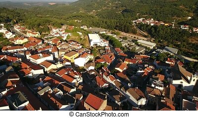 Aerial. Monchique village view from sky. Portuguese town at...