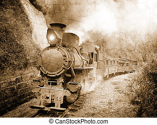 Steam narrow-gauge passenger train. - Steam narrow-gauge...