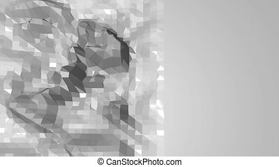 Abstract black and white low poly waving surface as space...