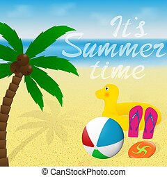 Greeting card with lettering. Summer vacation banner design....