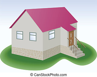 simple house - gray house with red roof and addition