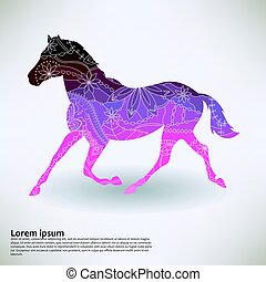 Background with horse transition colors vector