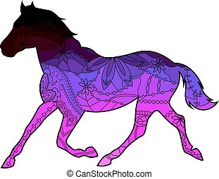 Horse with transition colors vector