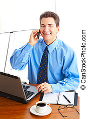 Businessman - business man working with laptop. Over white...