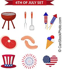 Set of patriotic icons Independence Day of America. July 4th collection of design elements, isolated on white background. National celebration, barbecue, BBQ.Vector illustration, clip art.