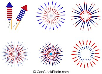 Fireworks, salute in traditional colors USA set of elements for your design. America's Independence Day, July 4, concept. Vector illustration.