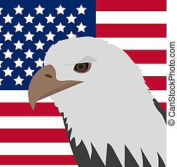 Eagle on the background of the American flag icon, flat style. 4th july concept. Vector illustration.