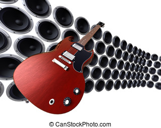 guitar in front of loudspeakers