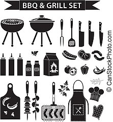 Barbecue and grill icons set, black silhouette, outline style. BBQ collection of objects, elements of design, logo. Isolated on white background. Vector illustration.