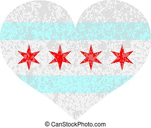 Chicago City Flag Heart Texture Illustration