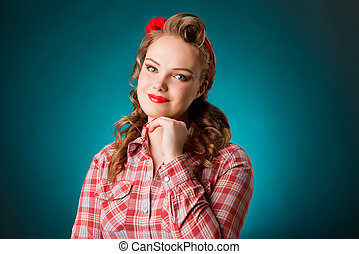 Pretty pinup girl in retro vintage 50's style - Closeup...