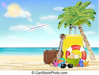 sea travel object with sun glasses suitcase ukulele safety torus beach ball with beach background