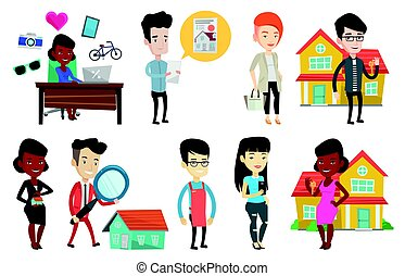 Vector set of real estate agents and house owners. - Real...