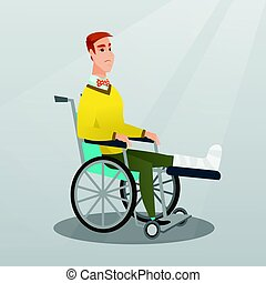 Man with broken leg sitting in a wheelchair.