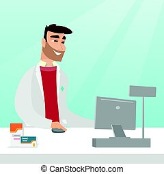 Pharmacist at counter with cash box. - Caucasian pharmacist...