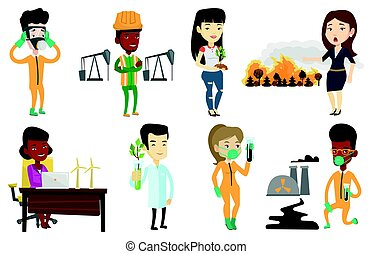 Vector set of characters on ecology issues. - Young african...