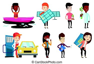 Vector set of characters on ecology issues. - Caucasian man...