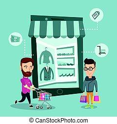 Caucasian men doing online shopping. Men using mobile...