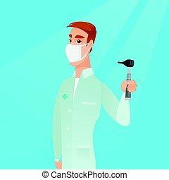 Ear nose throat doctor vector illustration. - Full length of...