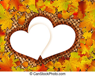 Colorful frame of fallen autumn leaves EPS 8 vector file...